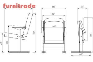 чертеж модели театрального кресла Уно от Фурнитрейд